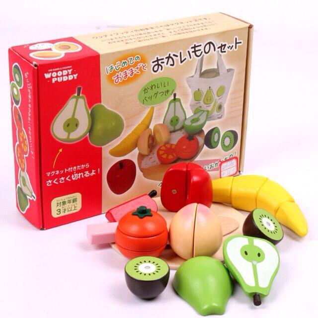 Bộ đồ chơi cắt hoa quả xuất Nhật WoodyPuddy