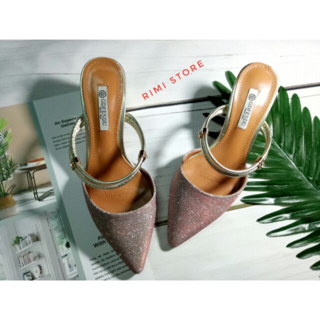 Sandal ánh nhũ vàng hồng sang chảnh size 35-36