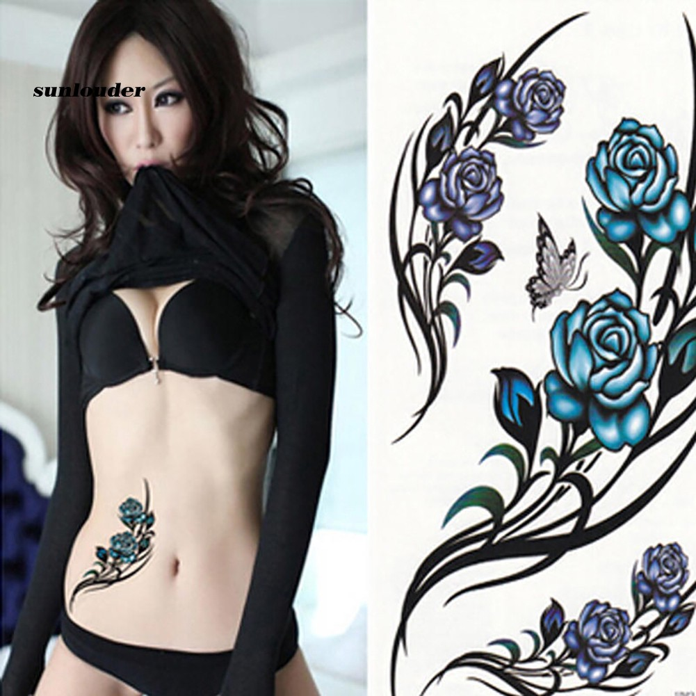 Hình xăm dán chống nước họa tiết hoa bướm dễ thương cho nữ