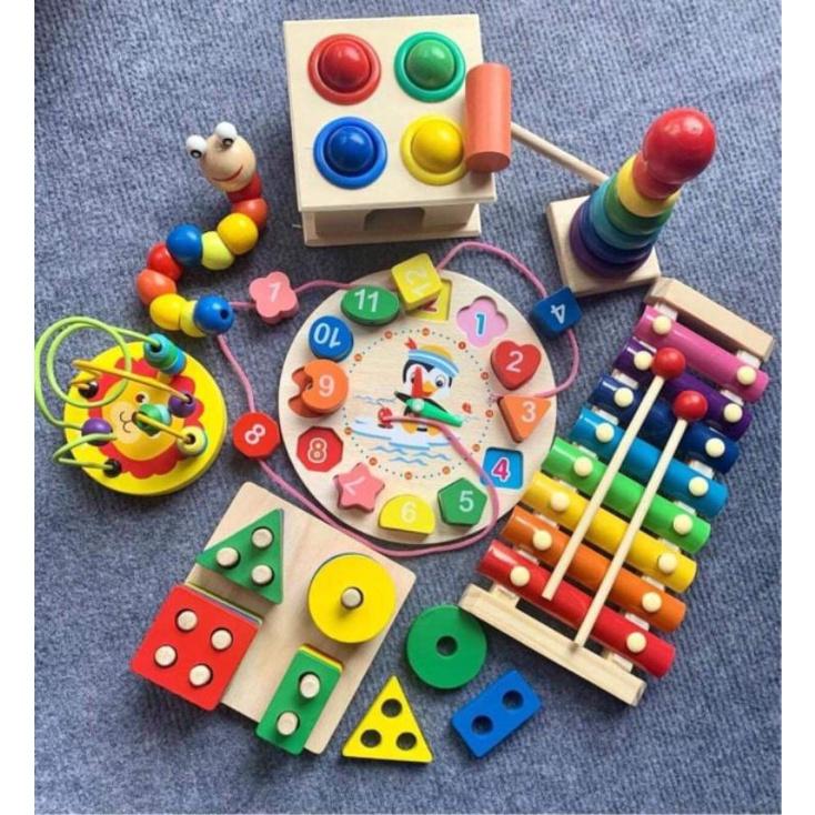 Đồ chơi gỗ thông minh cho bé, combo đồ chơi gỗ phát triển trí tuệ 6 - 7 món cho bé từ 1 - 4 tuổi