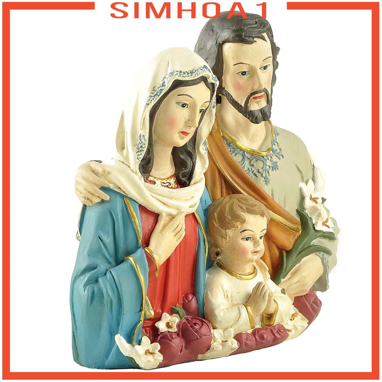 1pc Holy Family Statue Religious Christmas Sculptures Home Bookshelves Decor