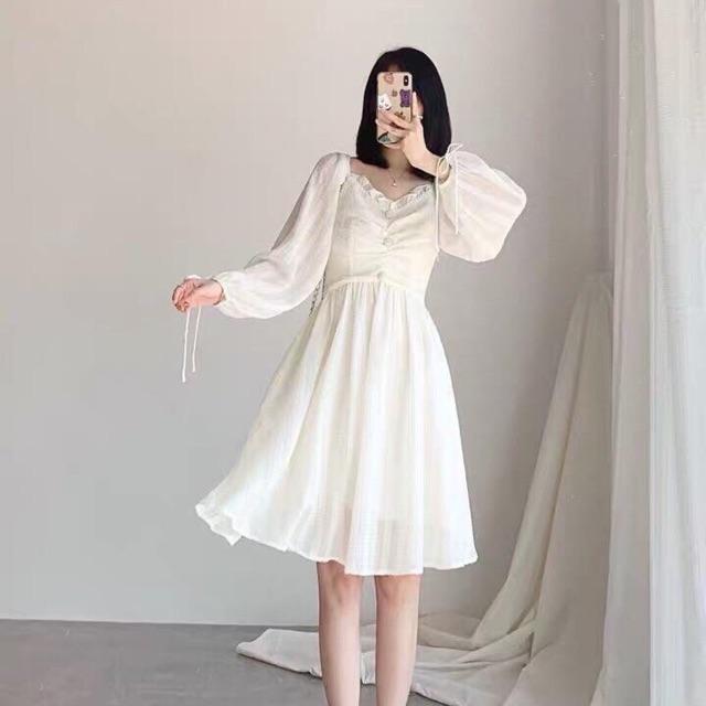 Đầm / váy trắng dài tay rúm ngực