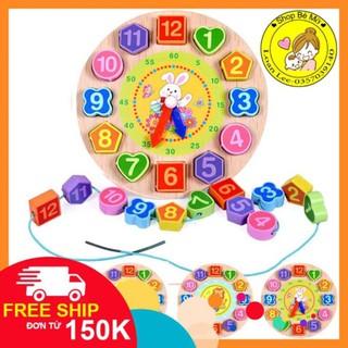 [FREESHIP từ 150K] Đồ chơi đồng hồ gỗ xâu hạt hoạt hình cho bé- Nhiều mẫu SHOP BÉ MỠ