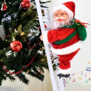 ♪ Creative Electric Santa Claus Climbing Stair Doll Music Toy Xmas Tree Decor ♪
