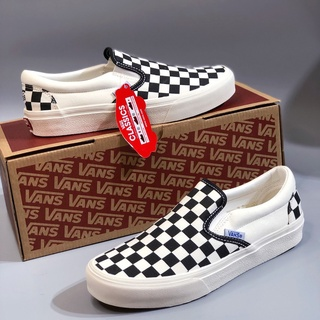 [ Freeship - Xả Kho ] Giày slipon caro, Giày thể thao checker board, Giày VANS lười nam nữ chữ xanh thumbnail