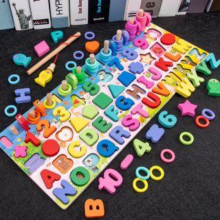 Đồ chơi bảng chữ số xếp hình gỗ trí tuệ thông minh 5 trong 1 dành cho bé học chữ số đếm kèm câu cá hình khối