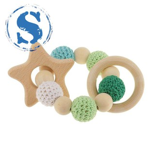 wooden wooden teething rings cute toy rattle toy baby teething accessories