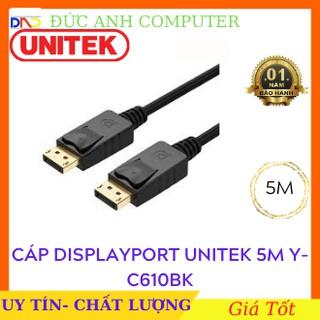Cáp Displayport  UNITEK 4K dài 5m YC610BK, Hàng Chính Hãng UNITEK - Bảo Hành 12 Tháng , Cáp 2 đầu Displayport