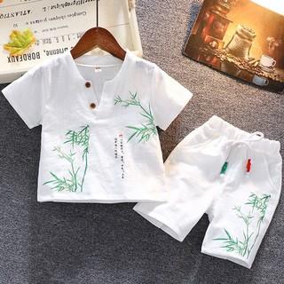 Bộ cộc tay cho bé trai, đồ bộ bé trai in hình họa tiết cây tre từ 6-27kg