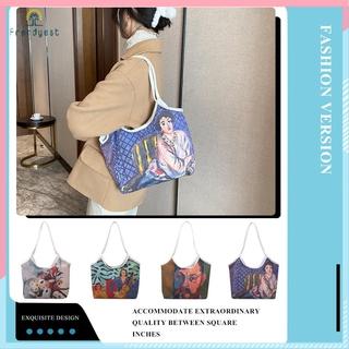 Túi xách đeo vai dạng lớn họa tiết tranh sơn dầu đẹp mắt dành cho nữ