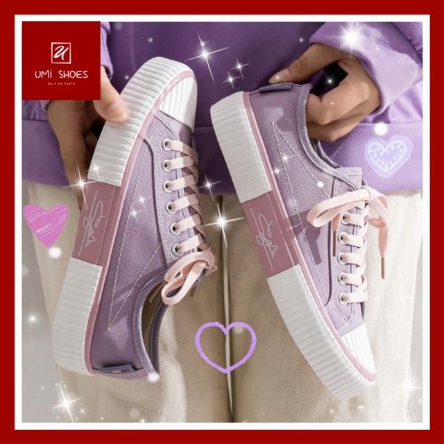 Giày thể thao nữ đế bằng chữ kí mũi sò chống nước đi mưa đi học mới giá rẻ đẹp đơn giản bền