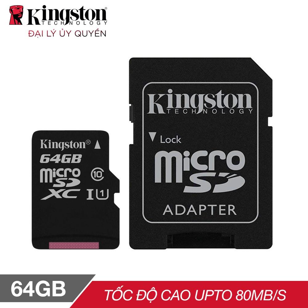 Thẻ nhớ micro SDXC Kingston 64GB Class 10 kèm Adapter - Hãng phân phối chính thức