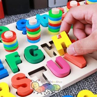 Bảng ghép chữ cái, chữ số nổi bằng gỗ và thả vòng xếp cọc cao thấp nhận biết màu sắc