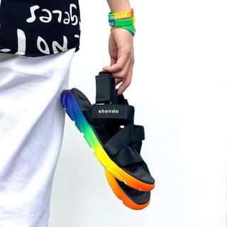 Giày sandal shondo F6 sport đen đế cầu vông F6S3810