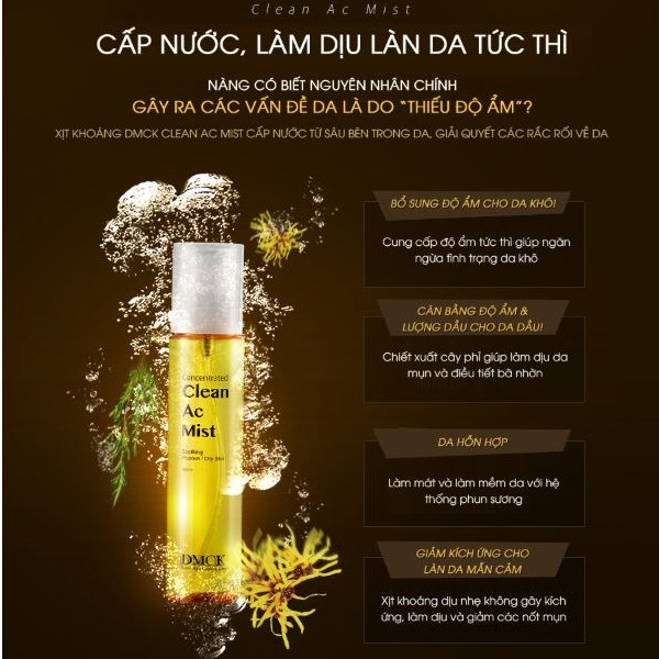 Xịt Khoáng Chiết Xuất Lá Tràm Trà Phù Hợp Cho Da Dầu Da Mụn DMCK Clean Ac  Mist 100ml   Shopee Việt Nam