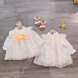 Bán sỉ Váy ren hoa cúc nơ vàng cho BG
