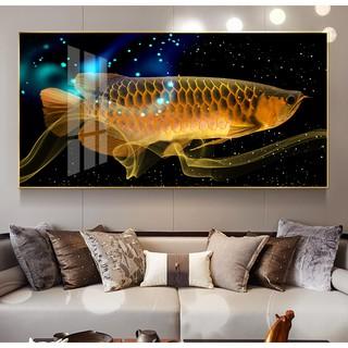 Yêu ThíchTranh treo tường phong thủy cá rồng vàng tài lộc chất liệu bóng kiếng hoặc vải canvas PL-10668