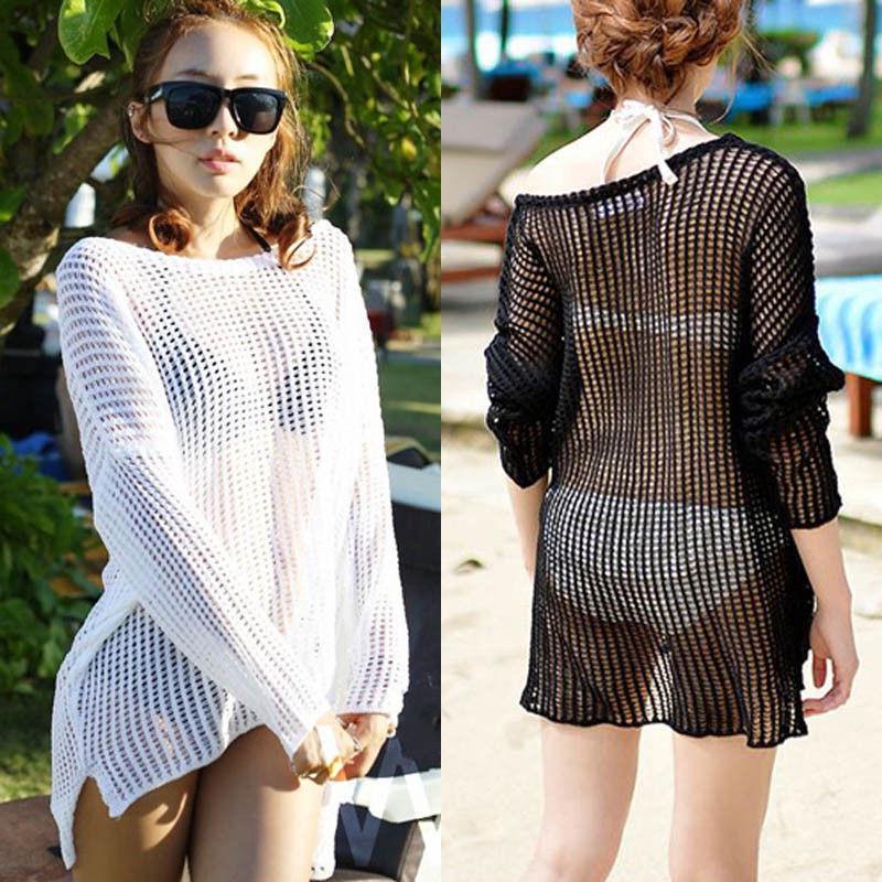 Áo mặc ngoài bikini dạng lưới xuyên thấu hợp thời trang cho nữ