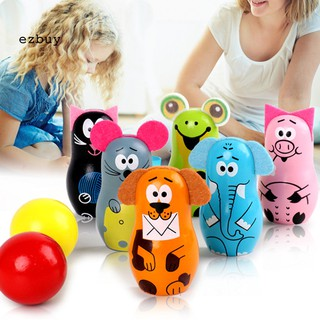 【EY】Wooden Cartoon Mouse Animal Bowling Pins Balls Set Sports Kids Development Toy