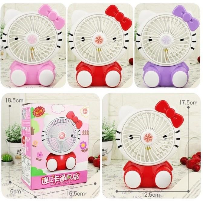 ⚡ Siêu Mát ⚡ Quạt Sạc Tích Điện USB Hình Mèo Kitty Siêu Dễ Thương - Quạt Sạc Để Bàn Hình Hello Kitty