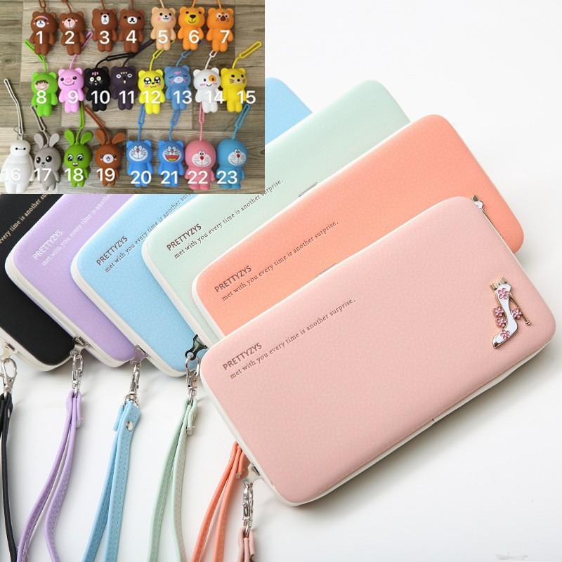 Combo ví nữ PRETTYZYS và ví nhỏ silicon hoặc móc khóa silicon cute