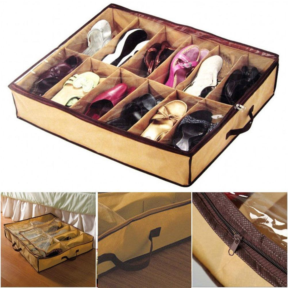 12 Pairs Shoes Storage Organizer Holder Container Under Bed Shoe Closet Box-Bags