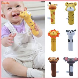 Baby Rattle Cute Cartoon Animal BB Stick Hand Bell Rattle Soft Toddler Plush Toys for 0-3 Years Kids