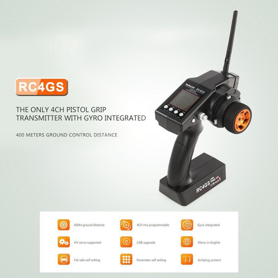 【READY STOCK】Bộ điều Khiển RadioLink RC4GS 2.4G Bộ điều Khiển 4CH Fs-fg Bộ Thu Gyro Cho RC