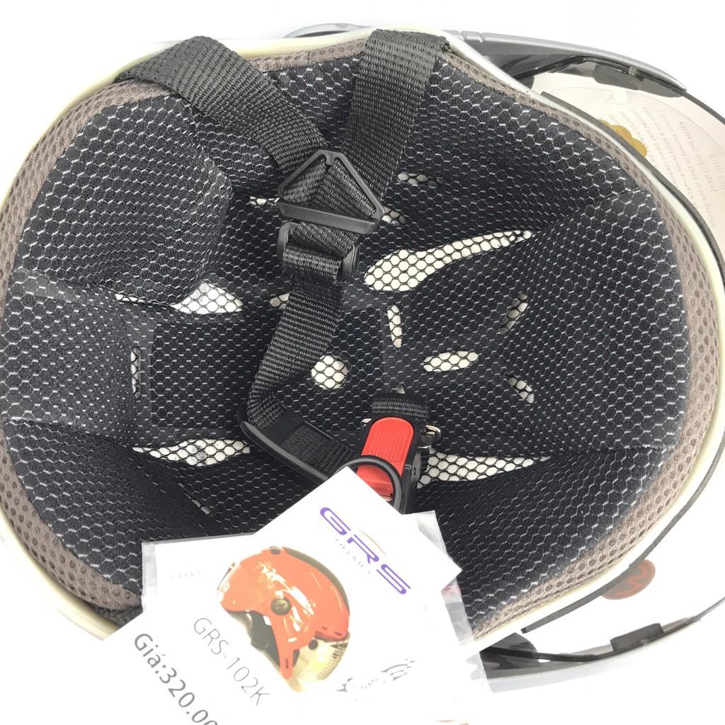 Mũ bảo hiểm Nửa đầu có kính chống lóa cao cấp - Hàng chính hãng GRS A102K - Nón bảo hiểm nửa đầu Nam - Nón bảo hiểm nữ