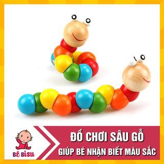 Đồ chơi con sâu gỗ uốn dẻo nhiều màu sắc đáng yêu cho bé thumbnail