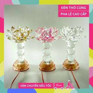Đèn thờ Phật điện pha lê nguyên khối hoa sen đèn thờ led đổi màu trụ tròn tầng cao cấp - Cao 20cm thumbnail