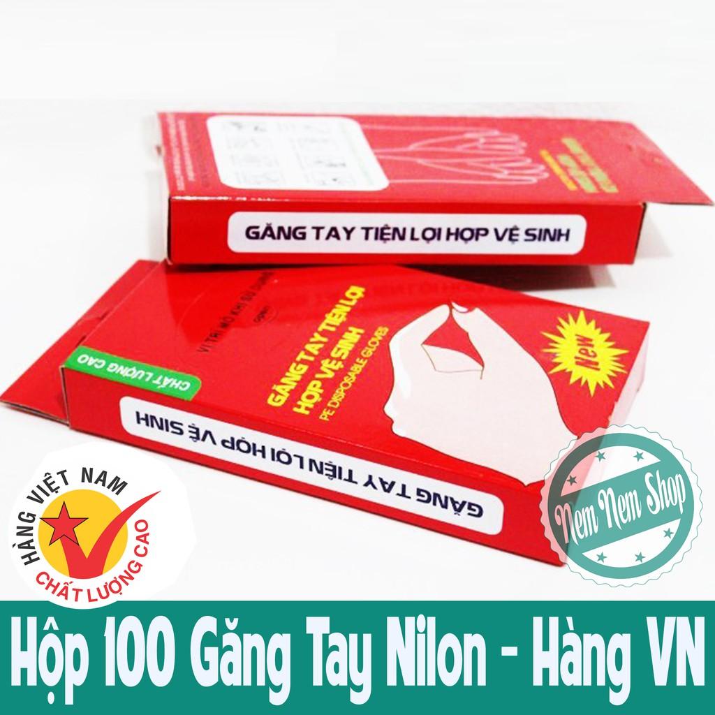 Hộp 100 Găng Tay Nilon Vệ Sinh An Toàn - Hàng VN