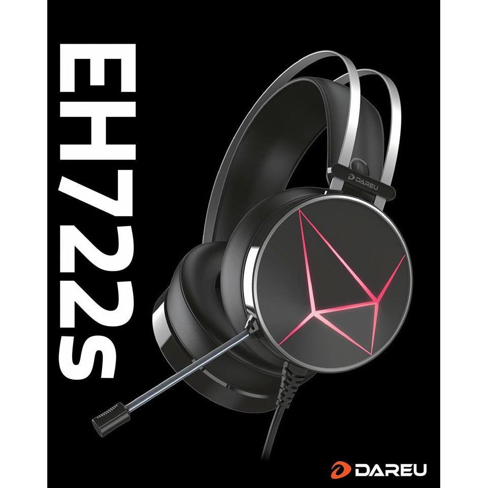 [Mã 267ELSALE hoàn 7% đơn 300K] Tai nghe DareU EH722X /EH722s Black 7.1 BH 1 năm chính hãng