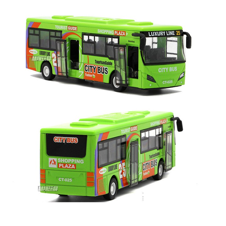 Ô tô buýt City Bus xe đồ chơi trẻ em xe bằng kim loại chạy cót có đèn và âm...