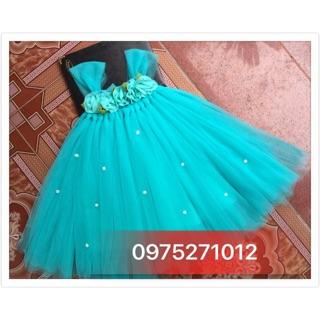 Đầm thiết kế ❤️FREESHIP❤️ Đầm xanh ngọc hoa chiffon thiết kế cho bé