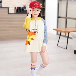 Đầm hoodie tay dài in hoạ tiết chữ kiểu Hàn dành cho bé gái