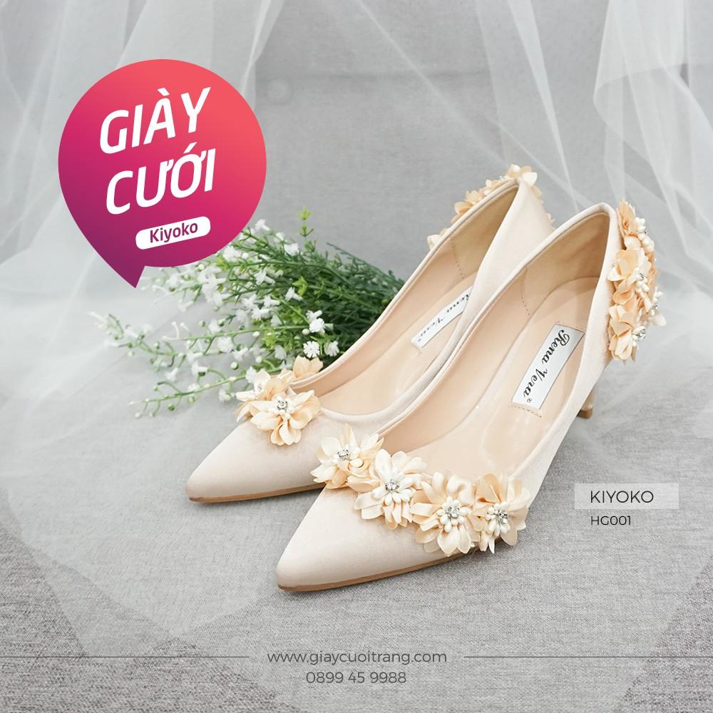 Giày cưới cô dâu cao gót đính hoa satin 7cm