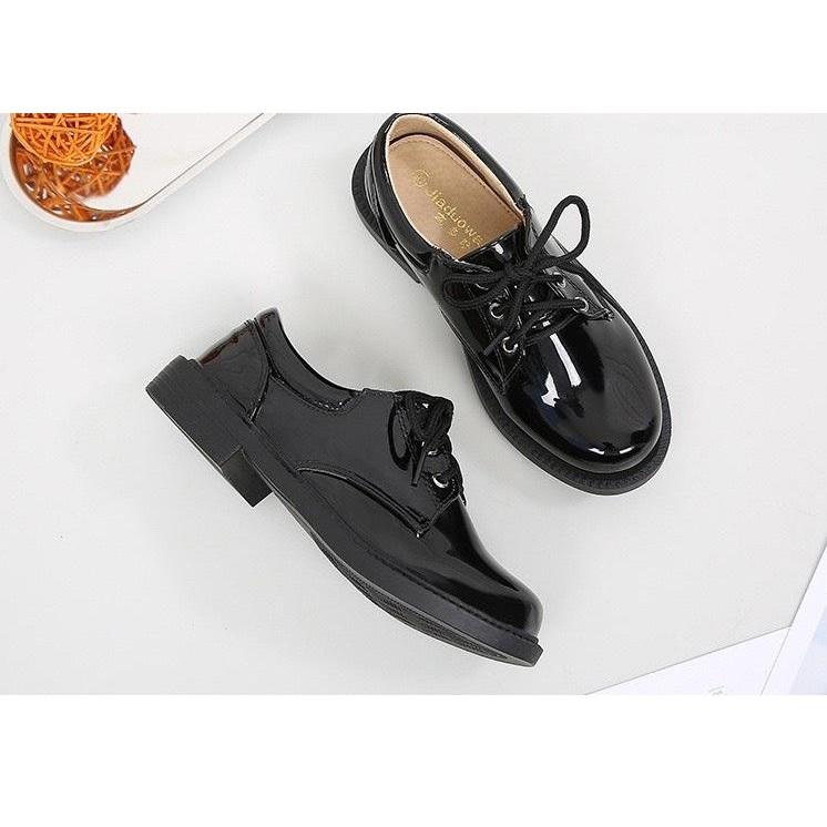 Giày Tây cao cấp cổ thấp da bóng, Thiết Kế Sang Trọng Cho Bé Trai- MÀU ĐEN