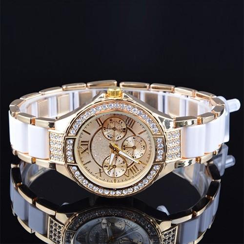 Đồng hồ 3 mặt số La Mã đính đá bằng hợp kim cho nữ