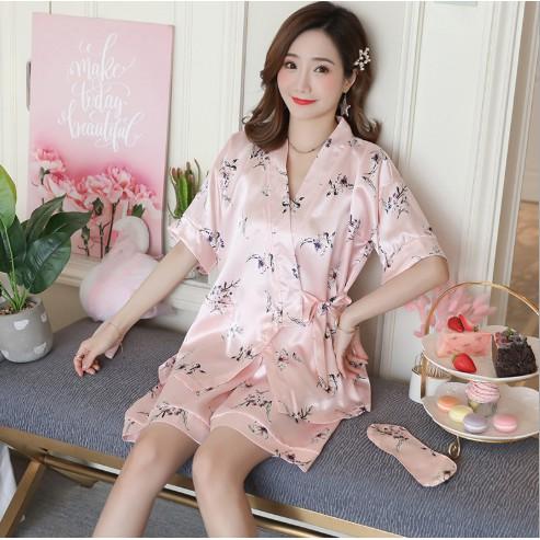 Pijama Kimono đùi lụa hình hoa lá