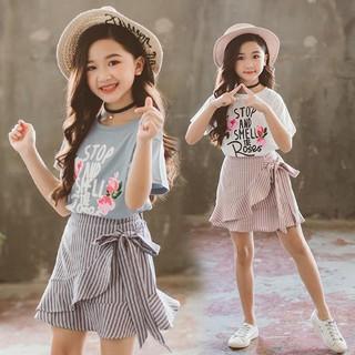 Set áo thun ngắn tay in hoa + Chân váy ngắn dễ thương cho bé gái