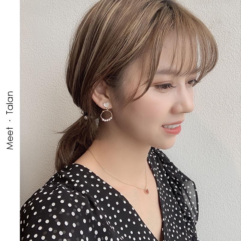 Bông tai mạ bạc 925 đính khuyên tròn gắn ngọc trai sang trọng cho nữ