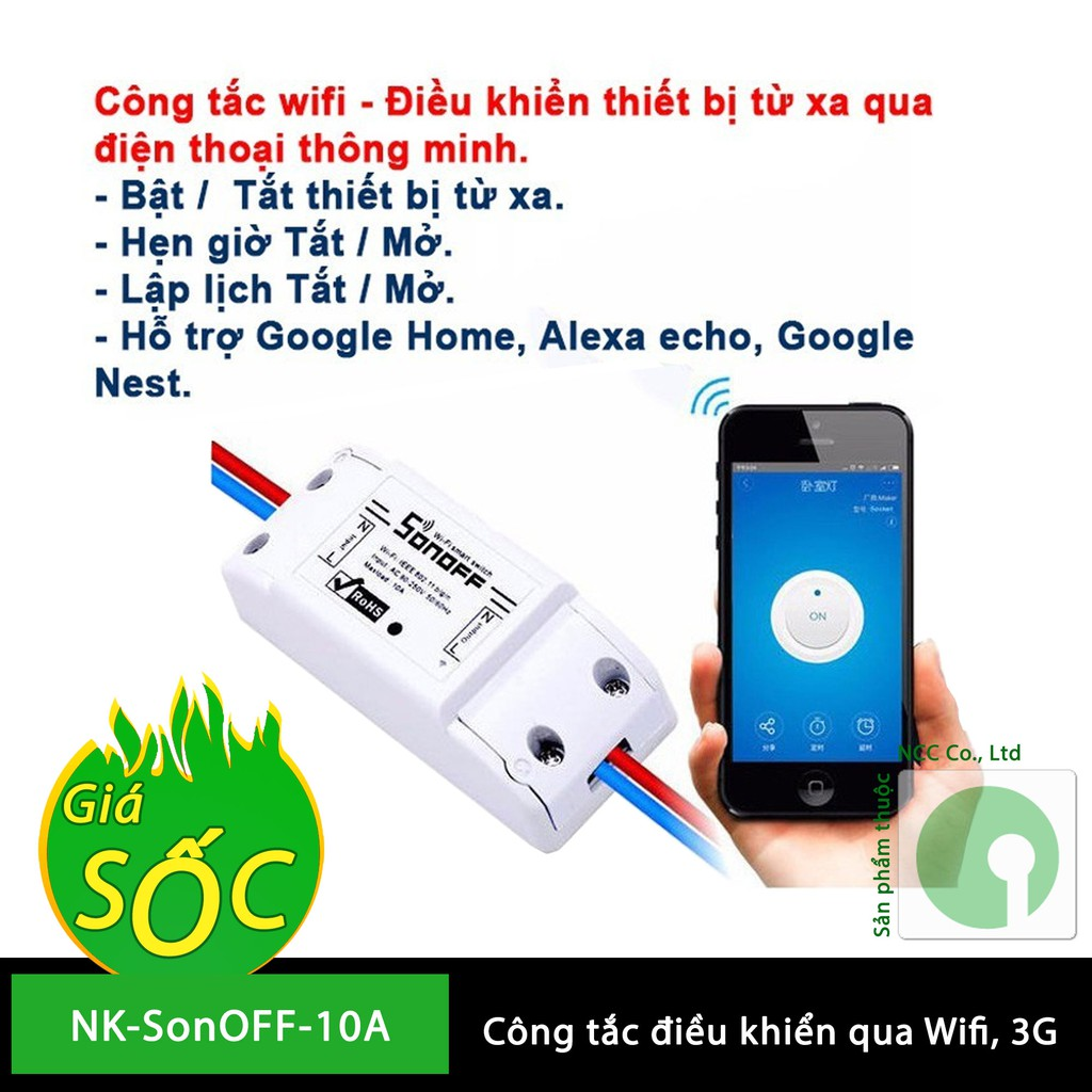 Công tắc thông minh Sonoff Basic 10A - điều khiển thiết bị nhà thông minh - lịch hẹn giờ qua Interne
