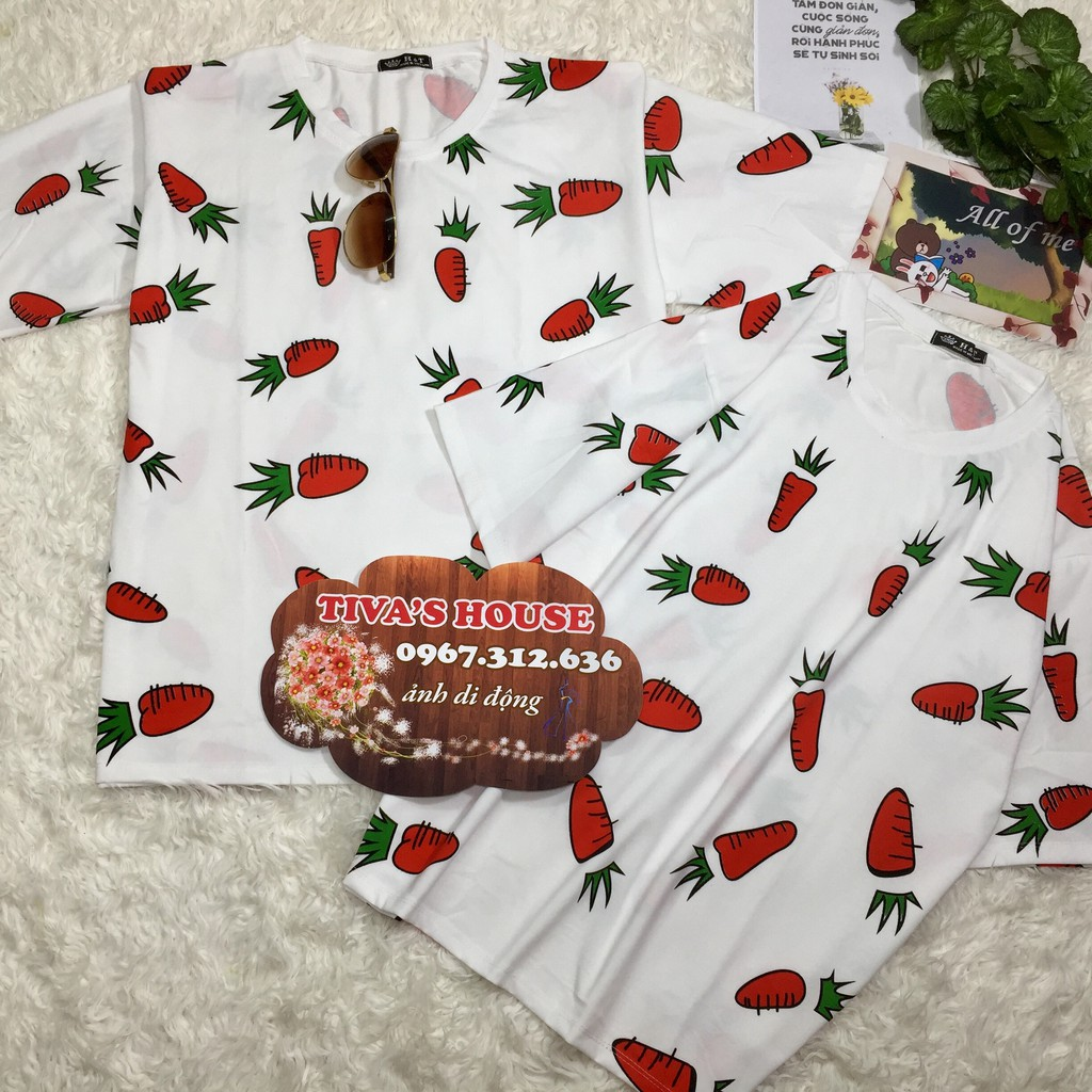Áo đôi in 2 mặt hình cà rốt trước sau kiểu áo phông form rộng