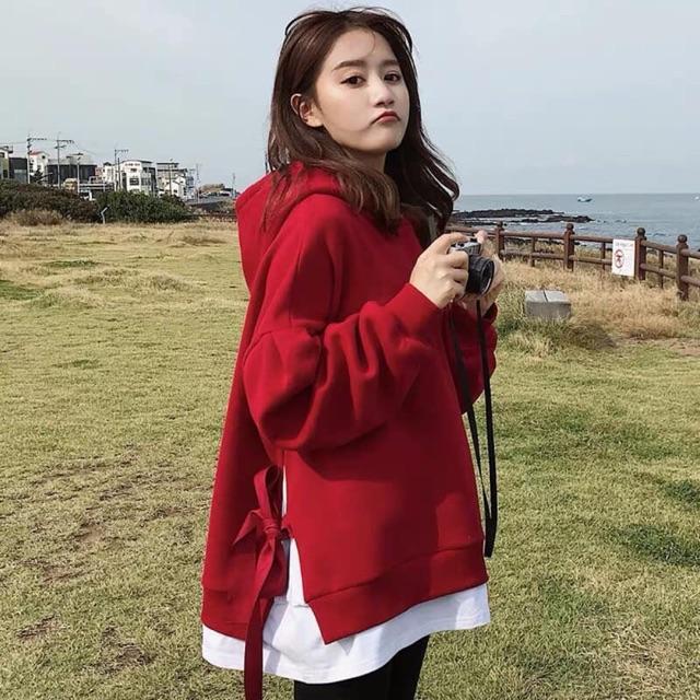 Áo hoodie nỉ form rộng tay dài dây buộc nơ sườn | SaleOff247