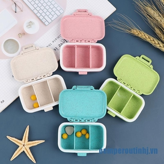 ✨oemperoutinhj.vnPortable Wheat Color Pill Box Tablet Pillbox Dispenser Medicine Storage Boxes