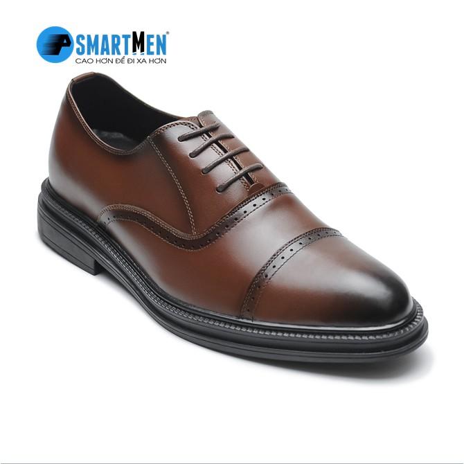 Giày tây da bò nam công sở SmartMen GD-400 Nâu