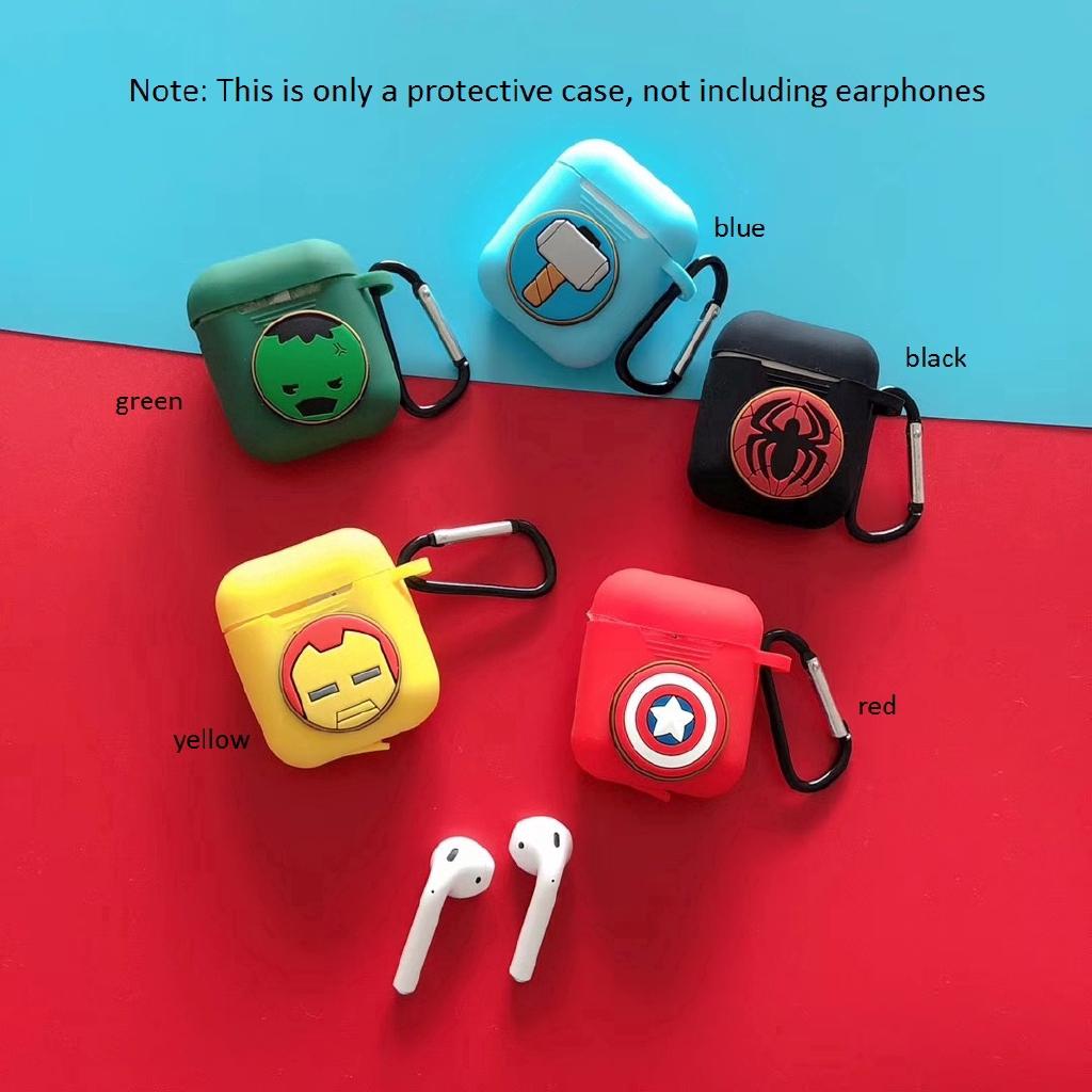 Hộp đựng tai nghe hoạt hình có móc kim loại cho Apple Airpods
