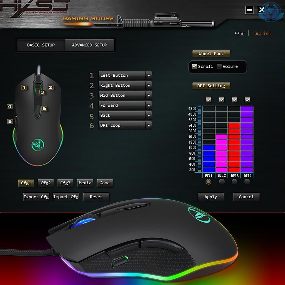 Chuột Chơi Game Moyukaxie S500 Max. 4800dpi 6 Nút Bấm Có Đèn Led Đen