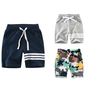 Quần short bé trai 27kids quần thun cho bé họa tiết thể thao chất cotton hàng xuất Âu Mỹ